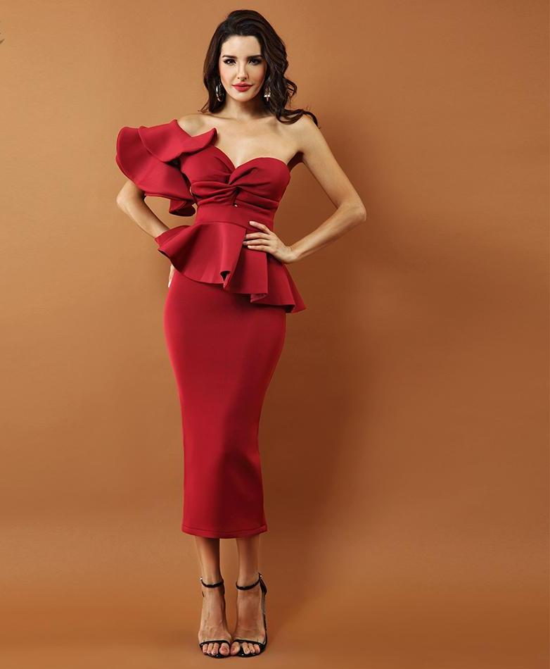 'Savannah' Wine Red One Shoulder Bodycon Dress
