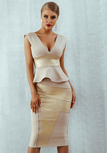 'Grace' Front Zipper Bandage Two Piece Set