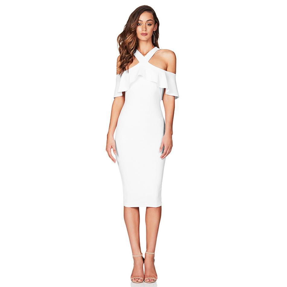 Off the Shoulder Ruffles Bandage Dress - White