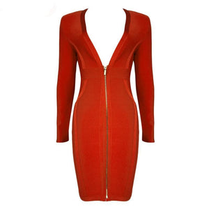 Long Sleeve Deep V-neck Sexy Bandage Dress - Red