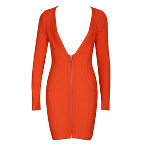 Long Sleeve Deep V-neck Sexy Bandage Dress - Orange