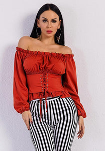 'Ruby' Sexy Off Shoulder Long Sleeve Belt Bandage Red Graceful Top