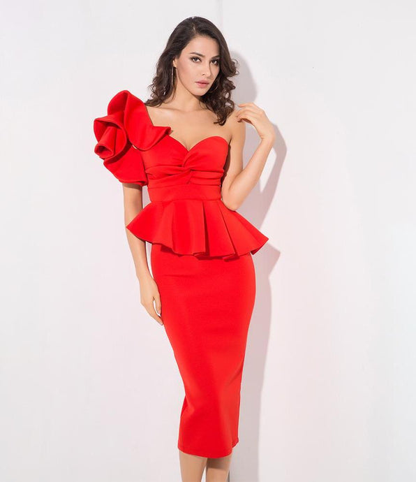 'Savannah' Red One Shoulder Bodycon Dress
