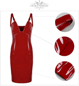 V-neck Spaghetti Strap PU Leather Kim K Party Dress