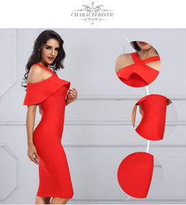 Off the Shoulder Ruffles Bandage Dress - Red