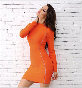 Elegant Orange Turtleneck Side Zipper Runway Dress