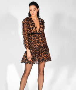 'Sloane' Deep V-Neck Ruffled High-Rise Leopard-Print Dress