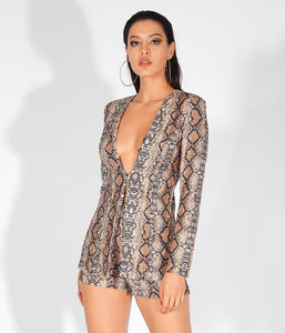 'Lila' Sexy Deep V-Neck Snake Print Two-Pieces Set