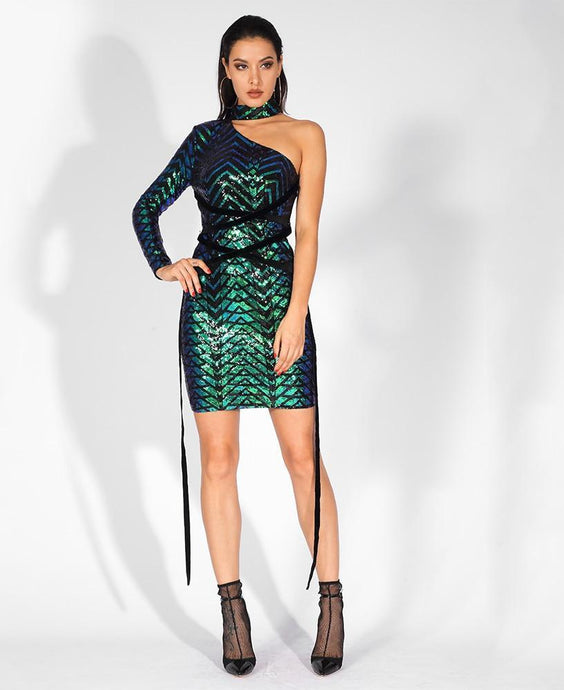 'Rebecca' Sexy One-Sided Stand-Up Collar Straps Geometric Graphic Sequins Dress