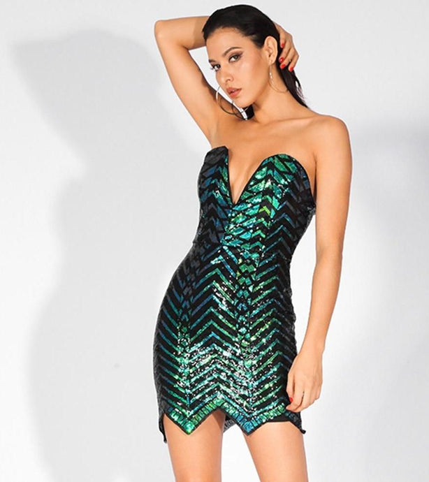 'Malia' Strapless Deep V-Neck Green Geometric Sequins Dress
