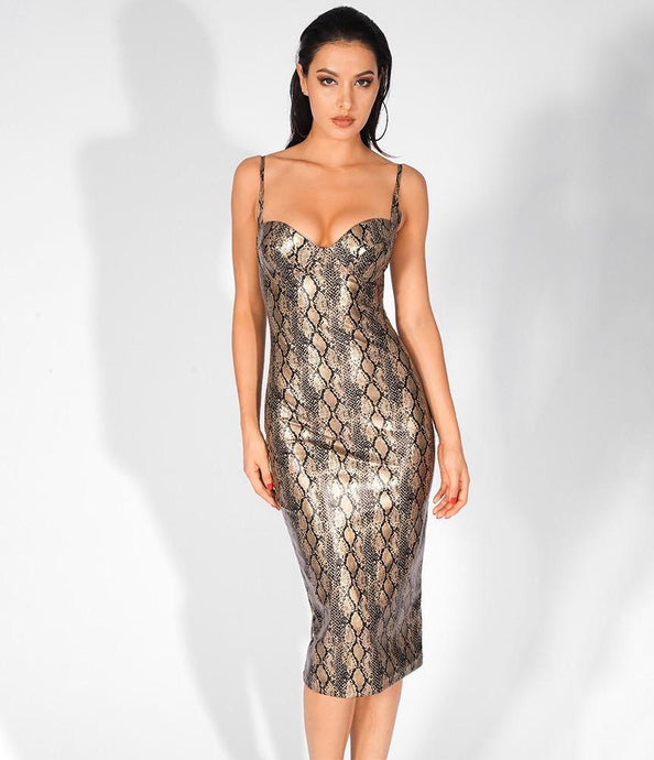 'Rowan' Sexy Strapless Gold Snake Spaghetti Strap Dress
