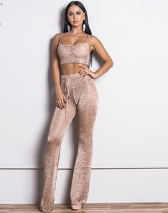 Gold Thread Off Shoulder Two Pieces Set Romper