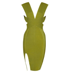 Split Sexy Bandage Dress v Neck Bodycon Dresses - Army Green