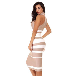 Elegant Nude and White Striped Bodycon Bandage Dress