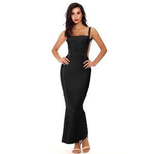 Long Dress Elegant Hollow Out Sexy Bandage Dress - Black
