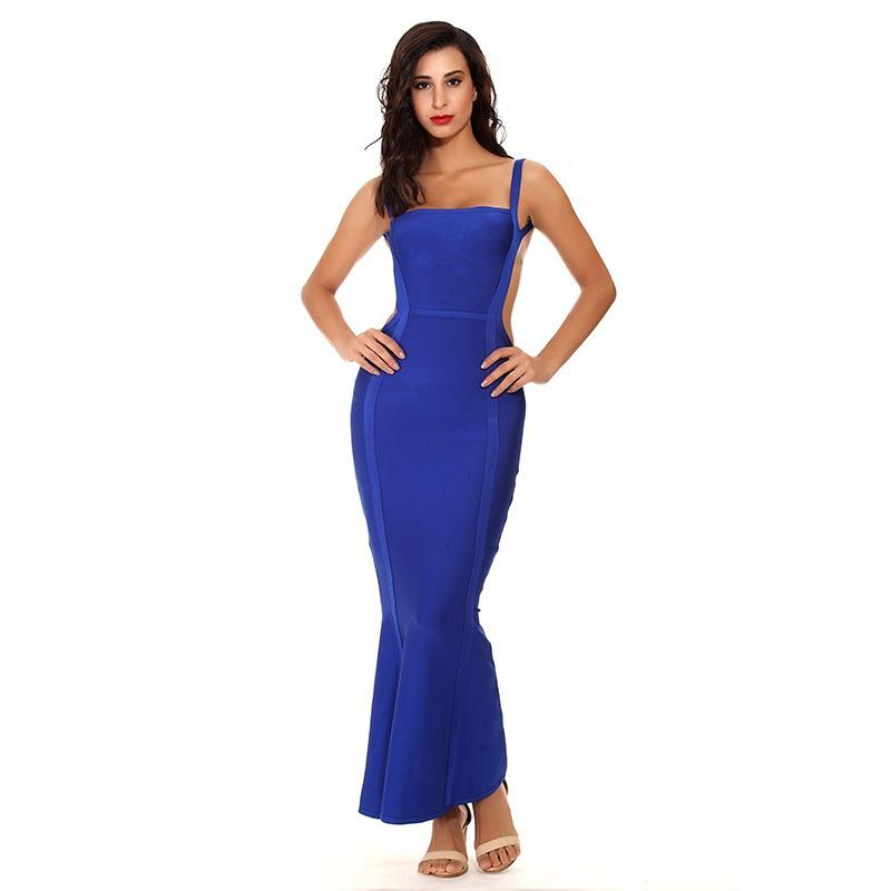 Long Dress Elegant Hollow Out Sexy Bandage Dress - Blue