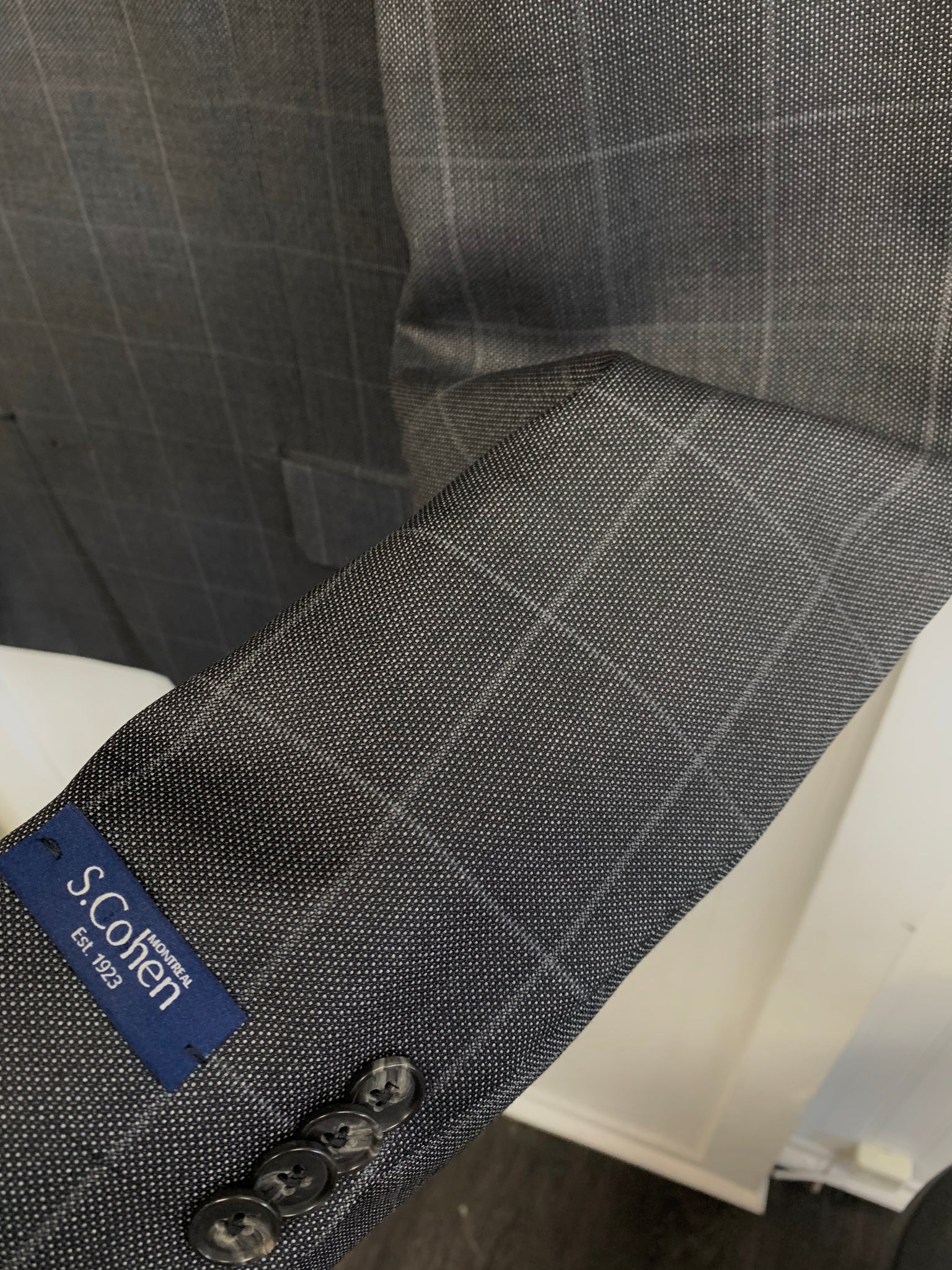 S. Cohen Super 130 Wool Suit- 97-3646 (Charcoal Gray Windowpane)