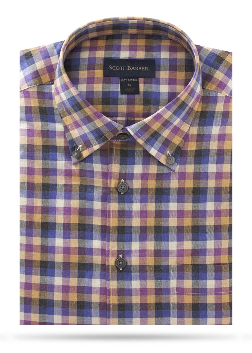 Scott Barber Cotton Melange Twill Buttondown- 43088
