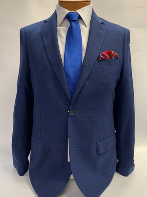 Mantoni Super 140 Sport Coat Blue Plaid w/ Lt. Blue Windowpane -78750-1