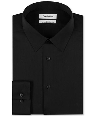 Calvin Klein Performance Slim Fit Dress Shirt - Black