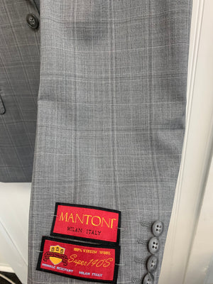 Mantoni Super 140 Wool Suit- 80883-1 (Lt. Gray White Windowpane)