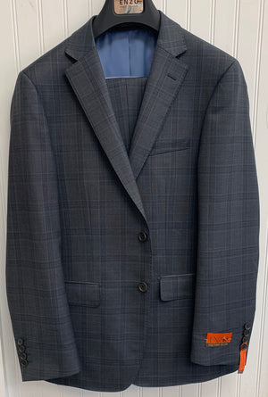 Enzo Super 150 Wool Suit- 84547-1 (Gray/BlueWindowpane)