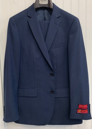 Mantoni Super 140 Wool Suit- 87140-2 (Navy w/ Blk Diamond Underlay)