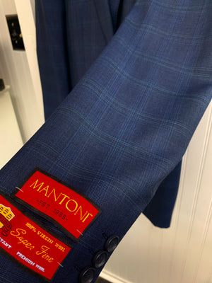 Mantoni Super 140 Wool Suit- 87168-1 (Navy w/ Navy and Lt.Green Plaid)