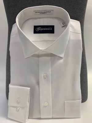 Giovanni's Royal Oxford Spread Collar Dress Shirt - White-01
