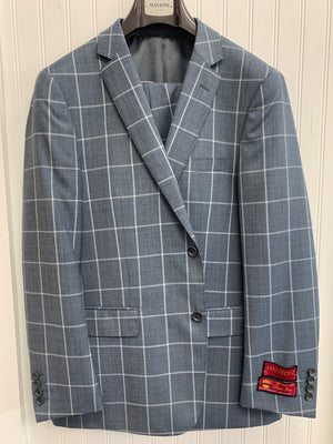 Mantoni Super 140 Wool Suit- 87163-1 (Gray Sharkskin Windowpane)