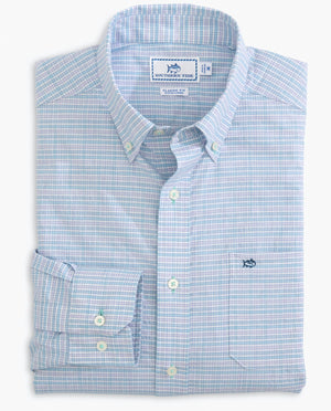 Southern Tide L/S Spacedye Guarded Gingham Sportshirt - 7747