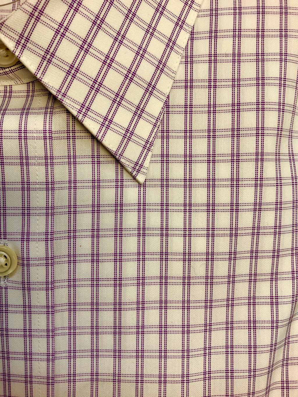 Giovanni's Modified Spread Collar Double Bar Check Dress Shirt - Lavendar - 51