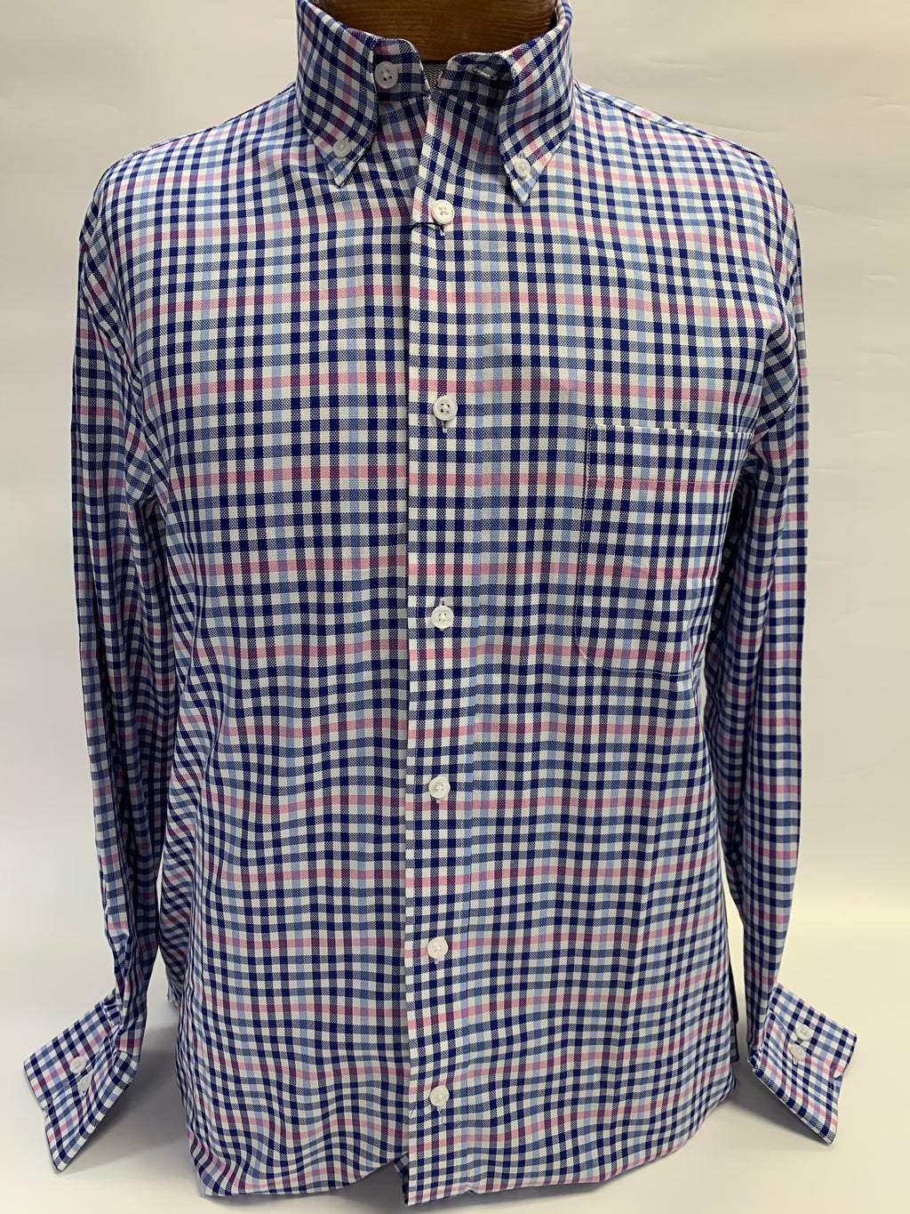 Giovanni's Cotton L/S Button Down Gingham WB2183
