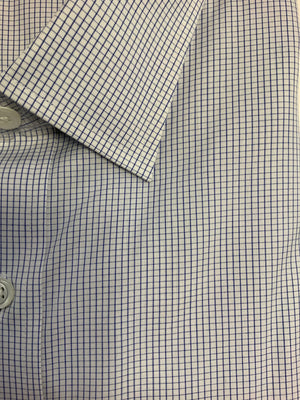 Giovanni's Graph Check Modified Spread Dress Shirt - Blue-12
