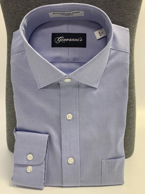 Giovanni's Modern Spread Collar (Tall) Dress Shirt - Blue-12