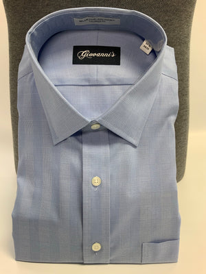 Giovanni's Glen Plaid (The Belmont) Modified Spread Dress Shirt - Blue-12