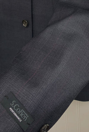 S. Cohen Performance Wool Suit- 89-1266 (Gray w/Mauve Windowpane)
