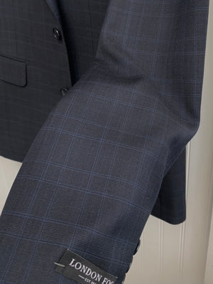 London Fog Wool Suit - L10003-1 (Gray w/ Lt. Blue Plaid)