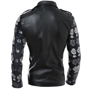 Skull/Flower Sleeves Leather Jacket