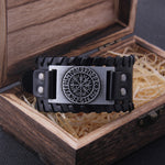 Leather Buckle Wrist Wrap with Metal Vegvisir Design
