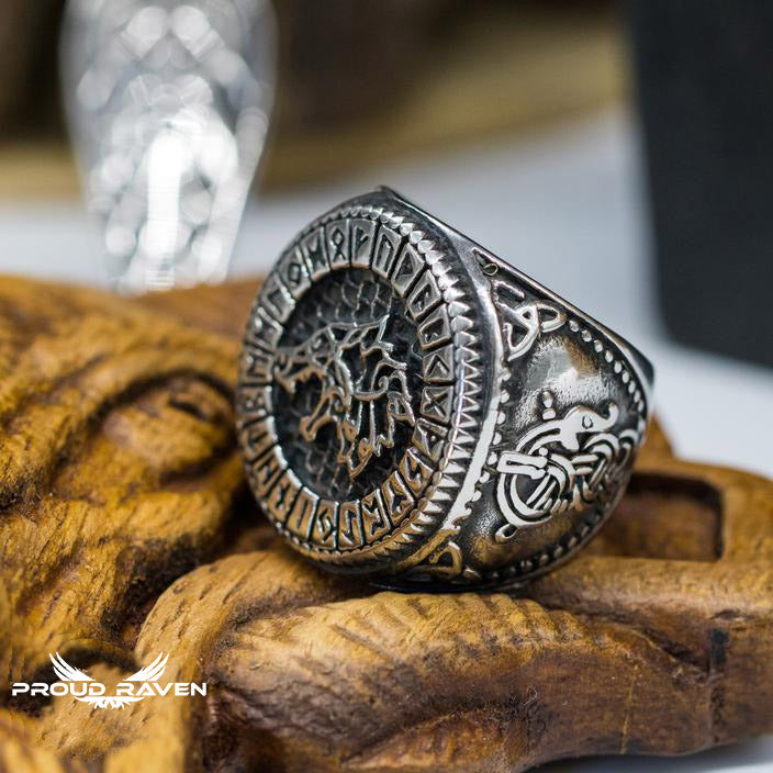 Viking Wolf & Runes Ring