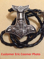 Vegvisir Compass & Two Ravens Mjolnir Necklace