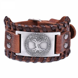 Leather Buckle Wrist Wrap with Metal Tree of Life Design