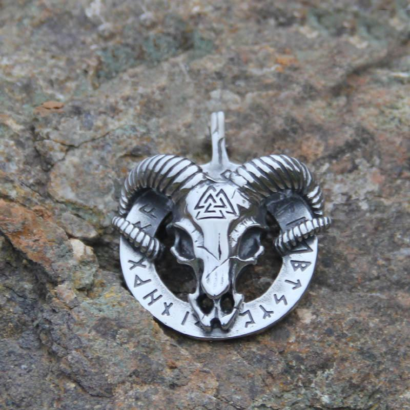 Viking Ram Skull Pendant Necklace