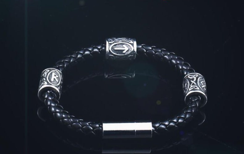 Viking Runes Leather Bracelet