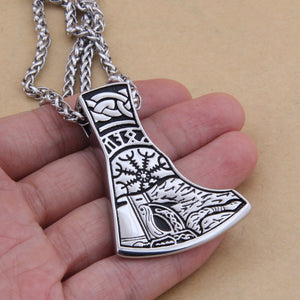 Viking Face Helm of Awe & Runes Mjolnir Necklace