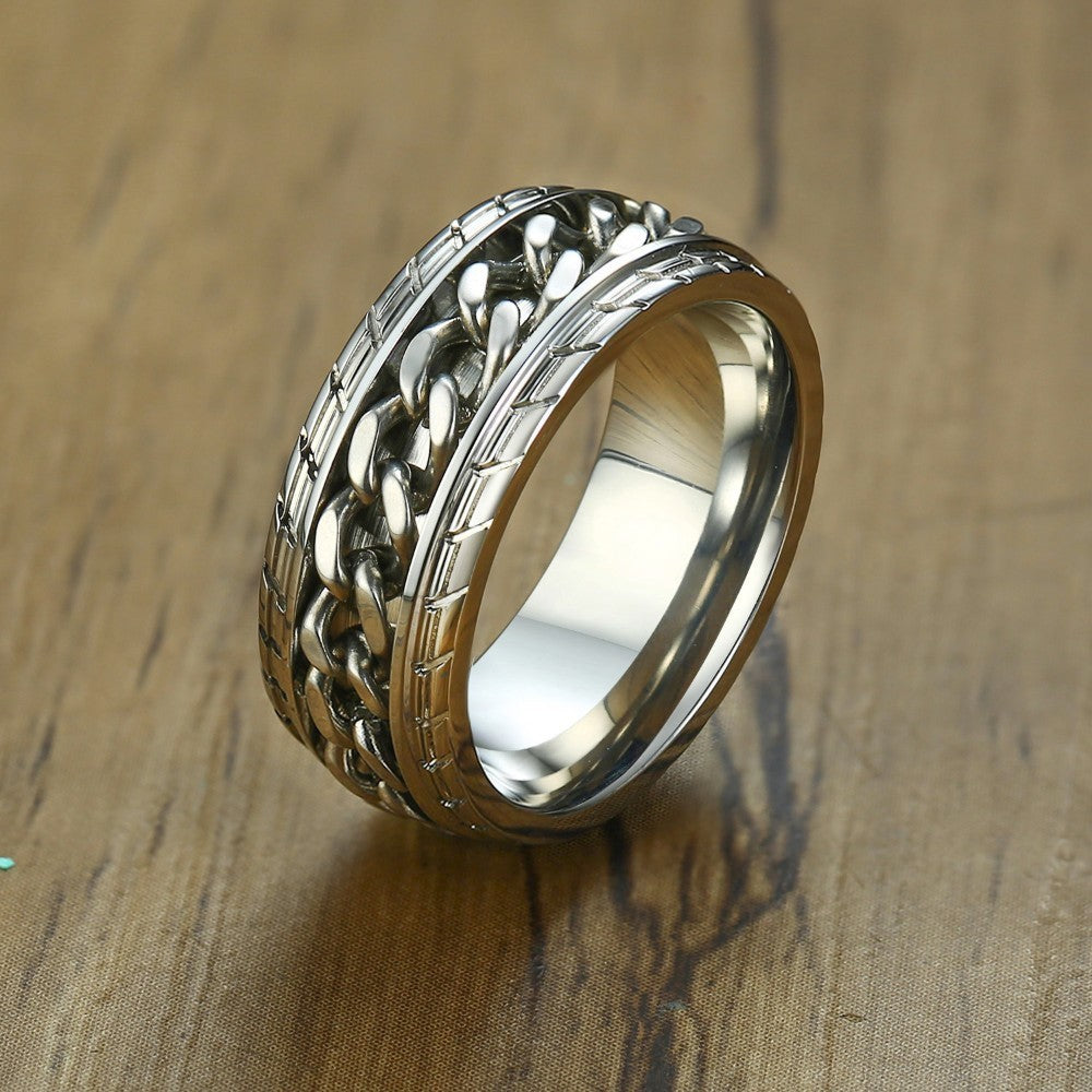 Men's Urban Style Rotating Chain Ring
