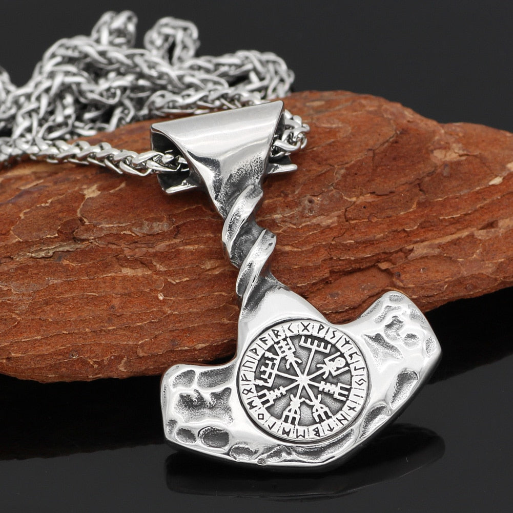 Mjolnir With Vegvisir Compass Necklace