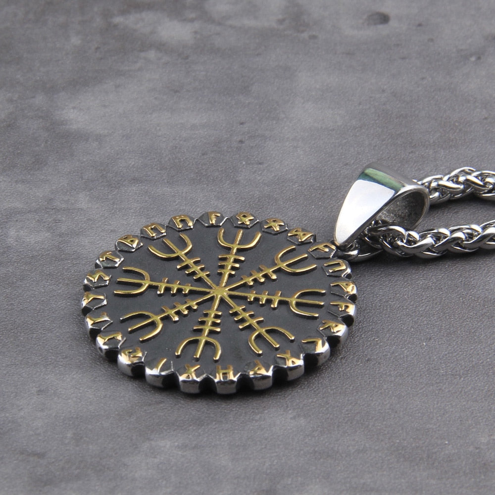 Viking Double-Sided Vegvisir/Helm of Awe Necklace
