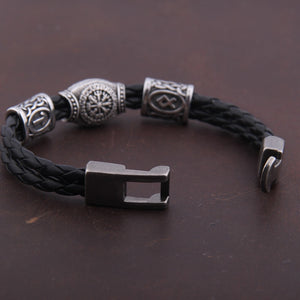 Viking Runes and Vegvisir Compass Bracelet